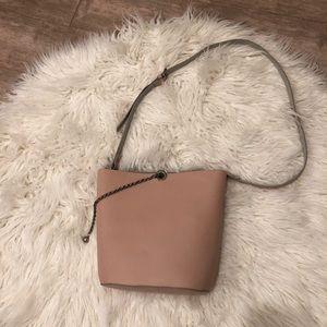 Zara pink/blush bucket bag with chain detail